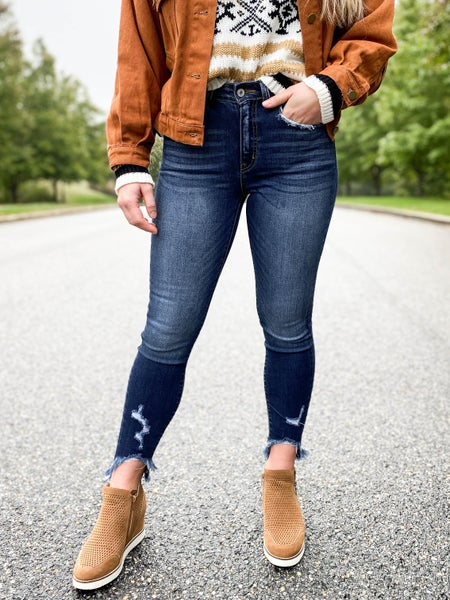 KanCan Rainy Day  Distressed Ankle Hem Jeans