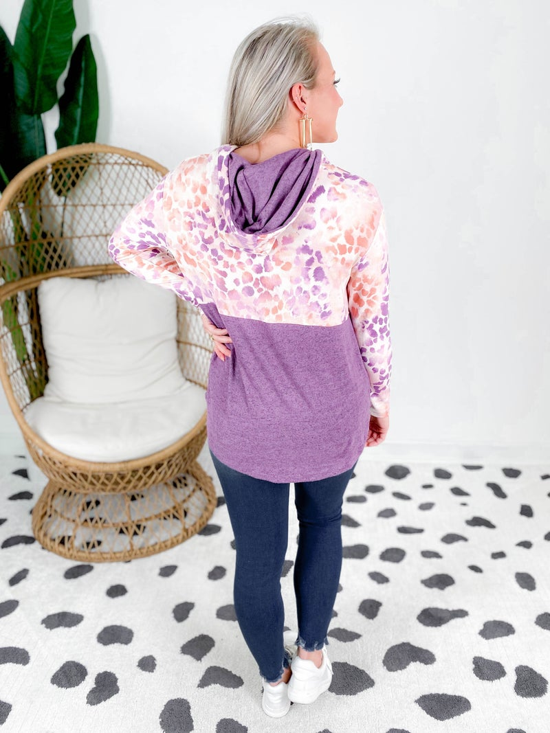 PLUS/REG Honeyme Plum Leopard Color Block Hooded Top