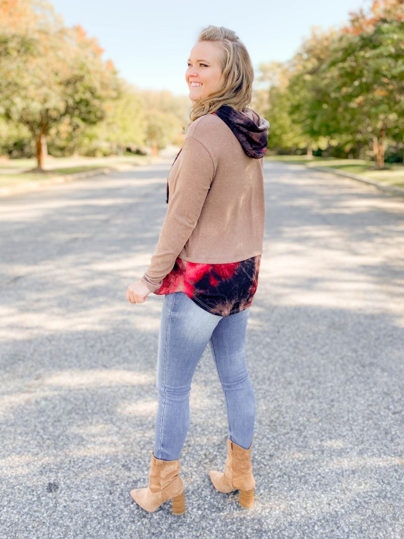 PLUS/REG Honeyme Taupe Hoodie Top with Pink Tie Dye Accents
