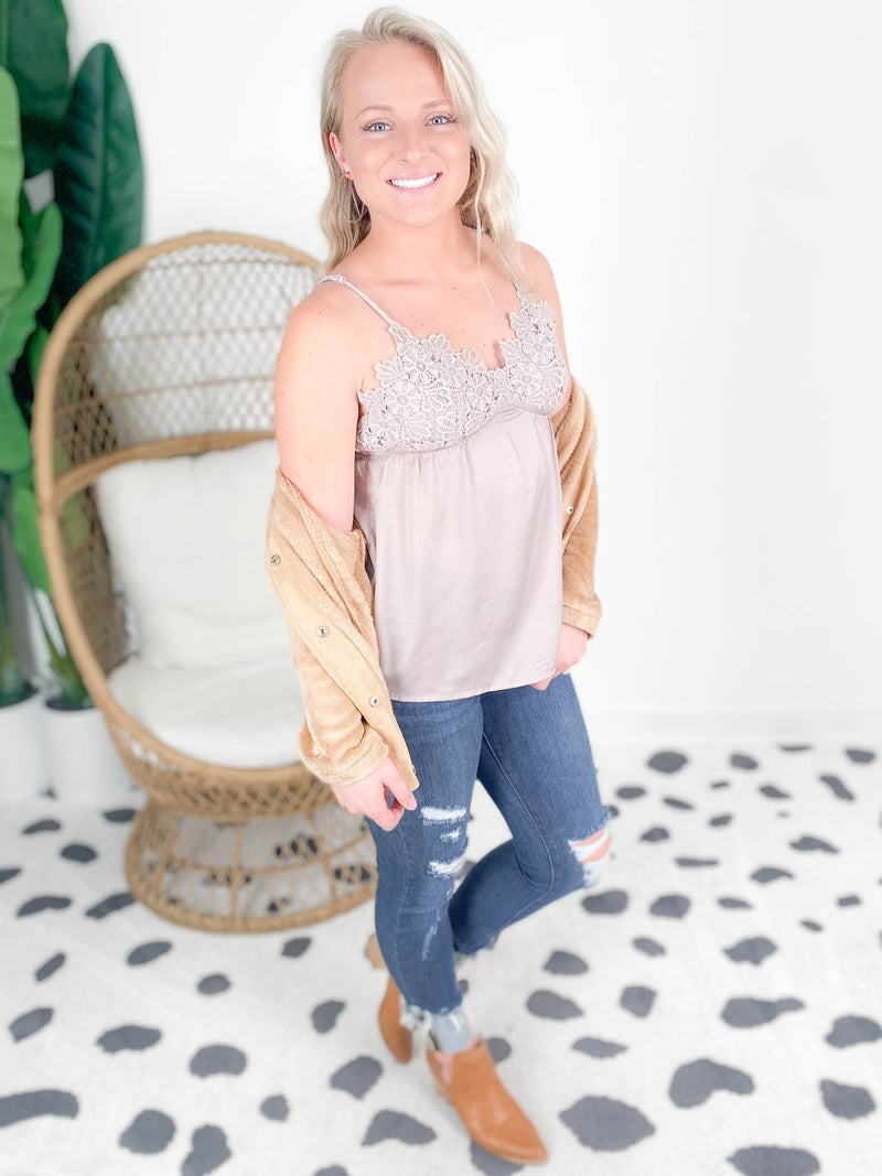 Crochet Lace Chest Silky Camisole Top (Multiple Colors)
