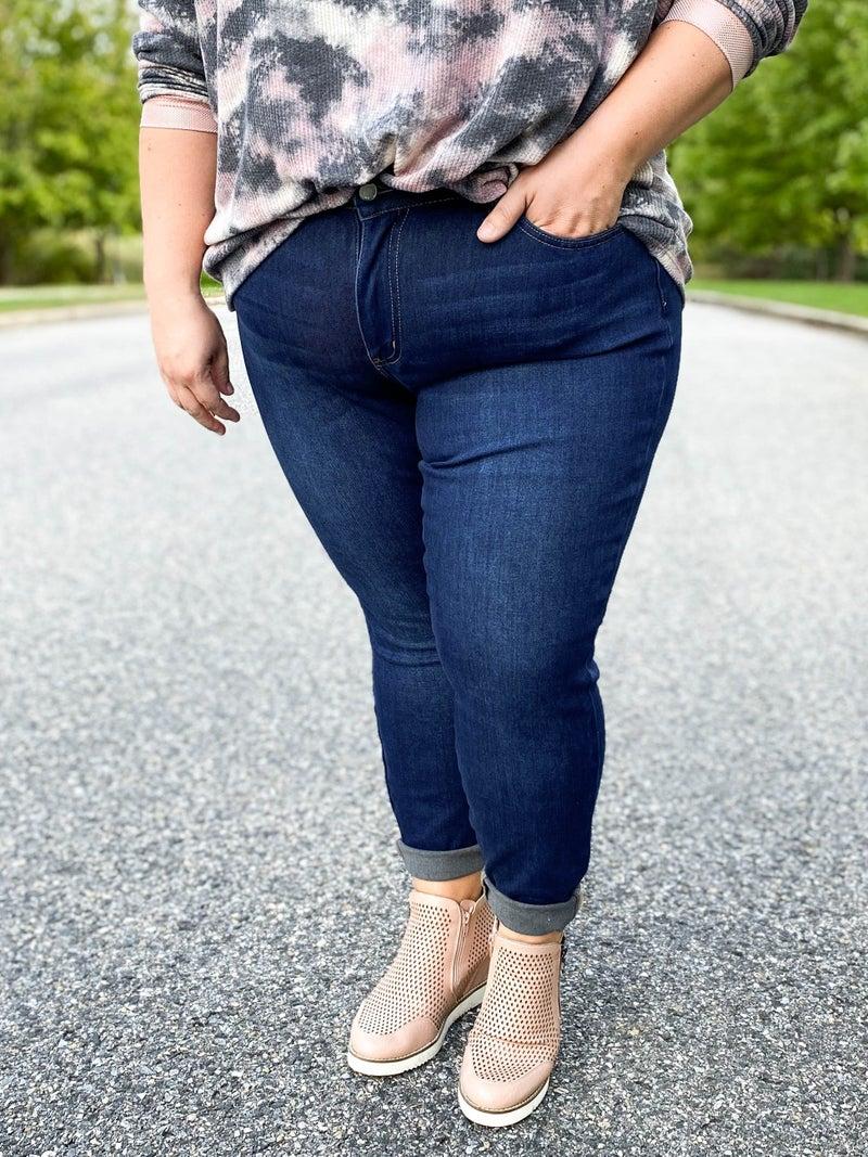 PLUS/REG Judy Blue Thermal Skinny Jeans