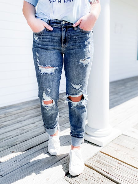 Plus/Reg Judy Blue Freckled Out OG Bleached Boyfriend Jeans