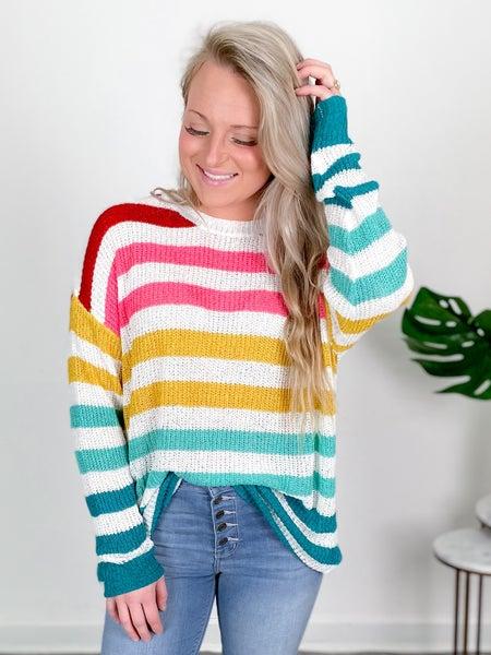 Rainbow  Stripes Ribbon Knit Sweater