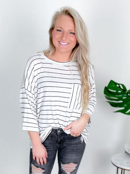 Soft Knit Oversized Striped Top With Pocket (Multiple Colors)