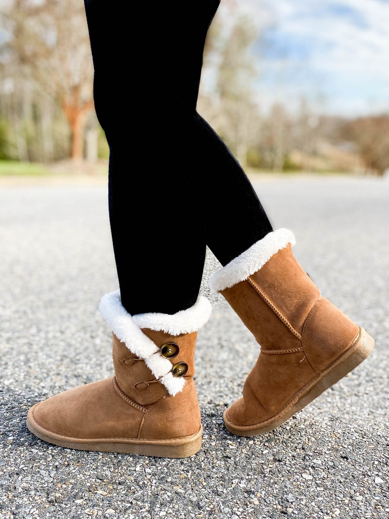 RESTOCK! Cognac Sherpa Fuzzy Winter Boots