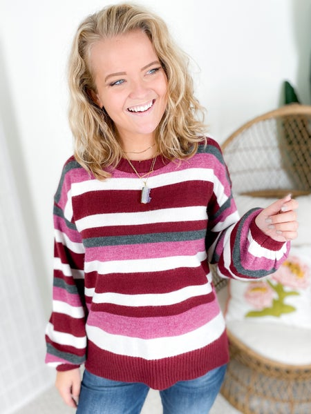 Striped Puff Sleeve Sweater (Multiple Colors)