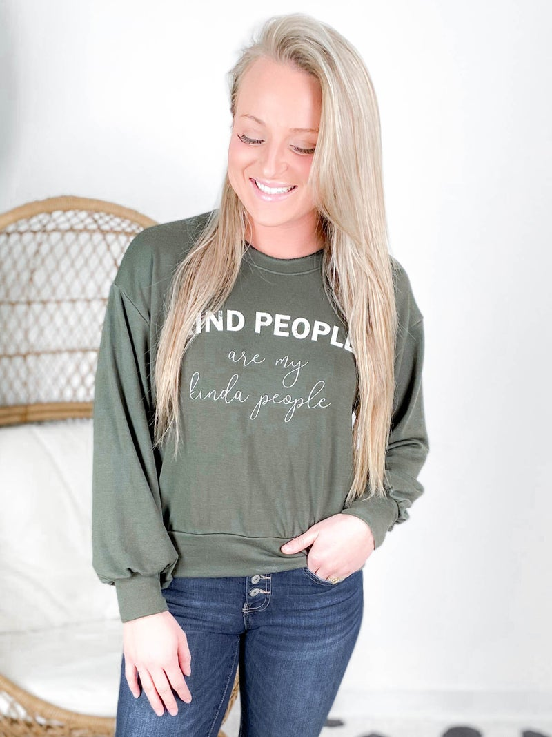 """Long Sleeve """"Kind People Are My People"""" Graphic Top"""