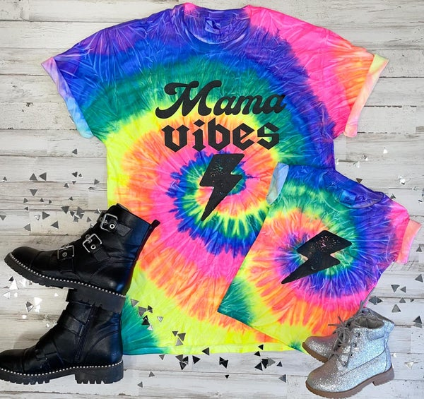 Mommy and Me Tie Dye Lightening Bolt Graphic