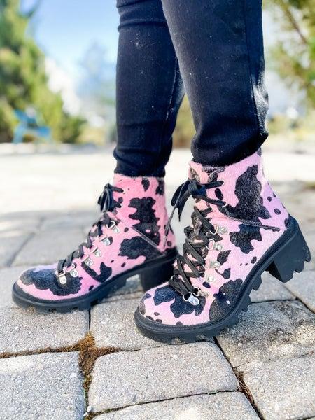 Pink & Black Leopard Combat Boots