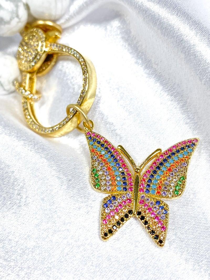 "Karli Buxton 1.25"" Rainbow Pave Butterfly Pendant"