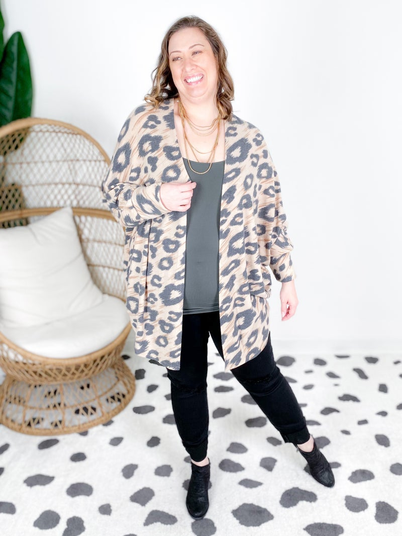PLUS/REG Honeyme Leopard Dolman Sleeve Open Cardigan