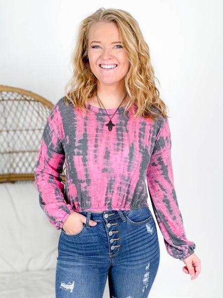 PLUS/REG Charcoal & Pink Tie Dye Crop Top