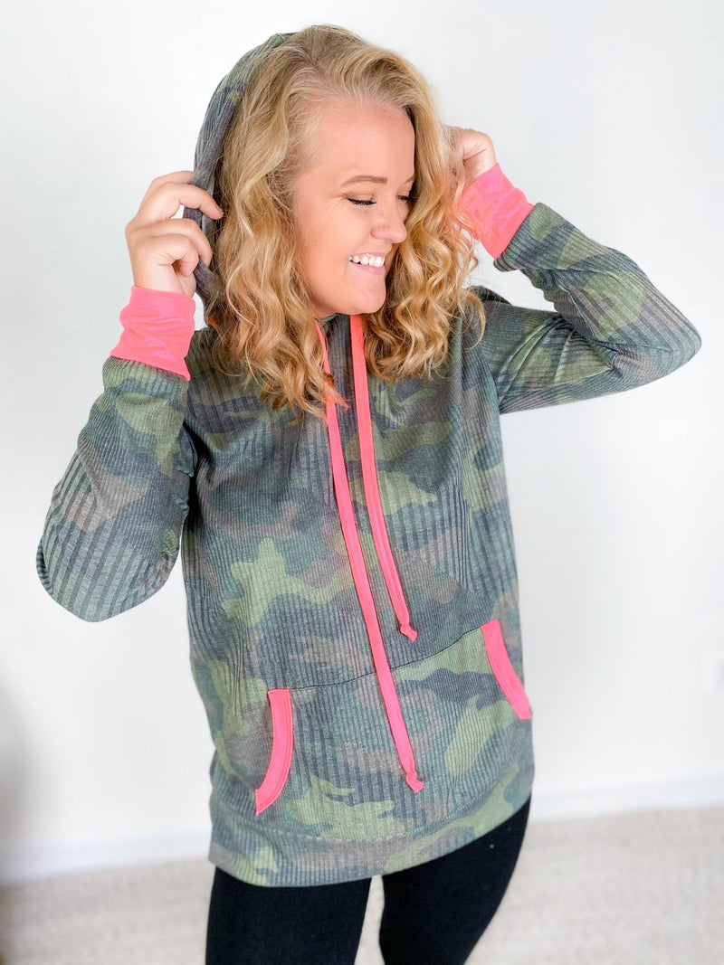 PLUS/REG Honeyme Camo Ribbed Hoodie Top with Pink Details