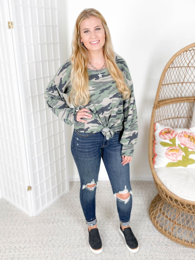 Camo Waffle Knit Top with Balloon Sleeves