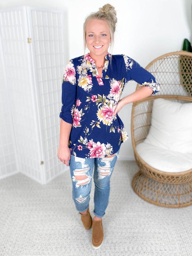 PLUS/REG Honeyme Navy Floral Gabby Blouse with Tab Sleeves