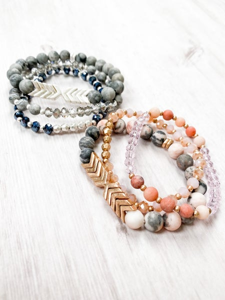 Stone and Metal Bead Chevron Bracelet Set (Multiple Colors)