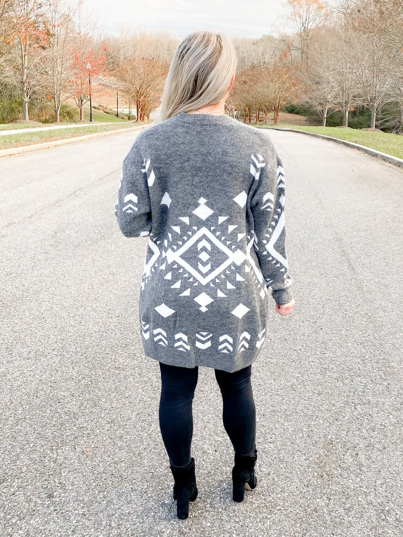 Geo Tribal Print Open Front Cardigan (Multiple Colors)