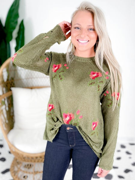 PLUS/REG Distressed Floral Sweater (Multiple Colors)