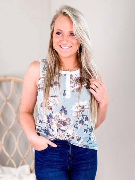 PLUS/REG Mint And Taupe Floral Tank Top With Button Detail