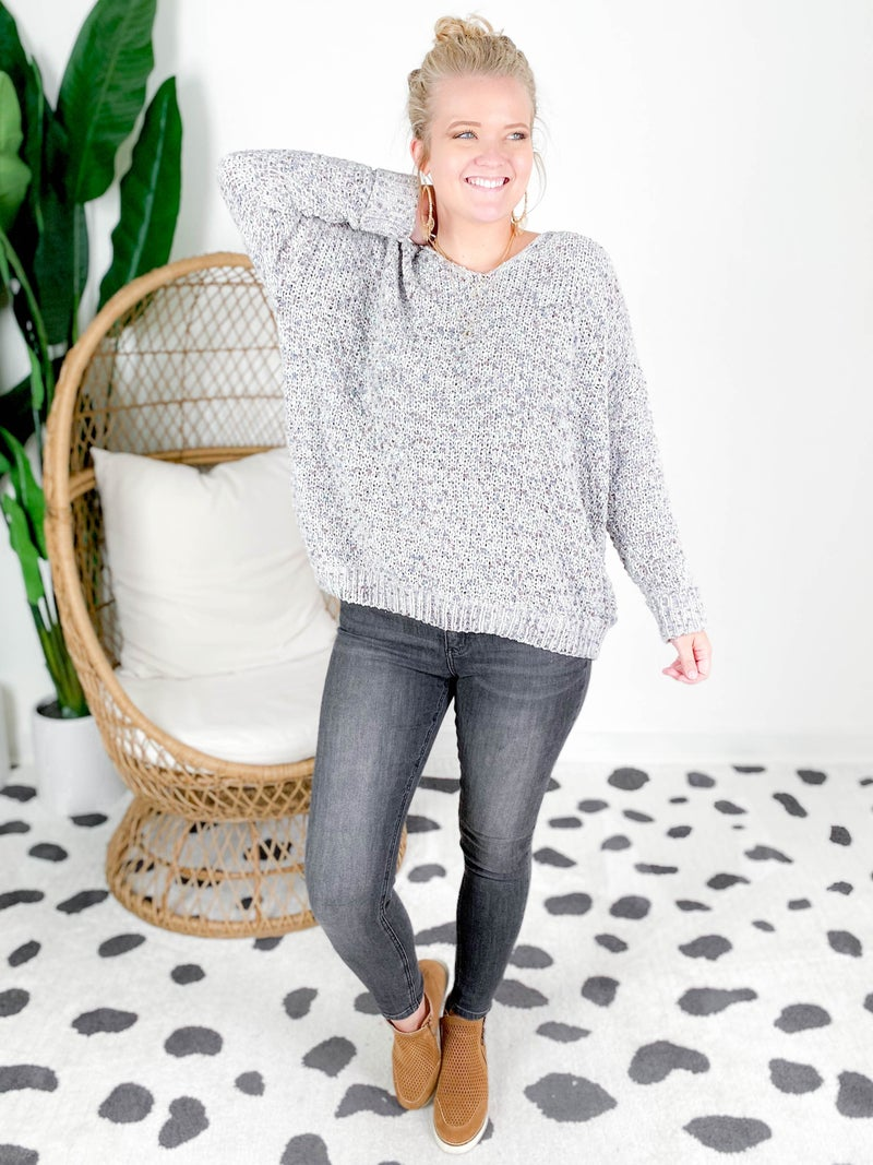 PLUS/REG Cozy Knit V Neck Sweater (Multiple Colors)