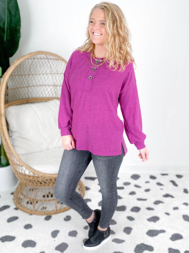 PLUS/REG Long Sleeve Solid Knit Top (Multiple Colors)