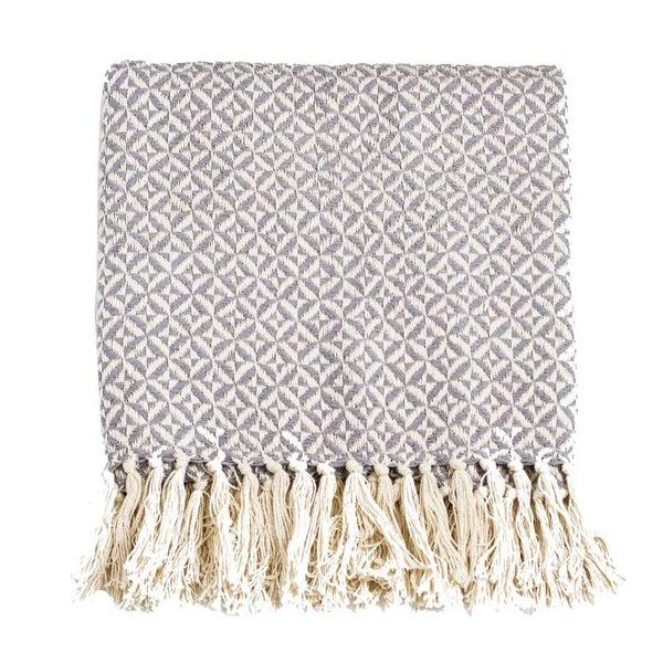 Pinwheel Two Tone Cotton Throw Blanket (Multiple Colors)