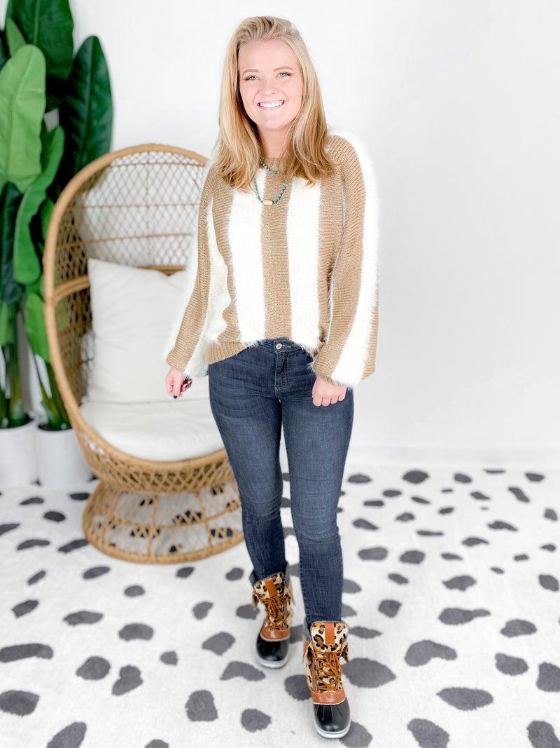 Round Neck Fuzzy Striped Sweater