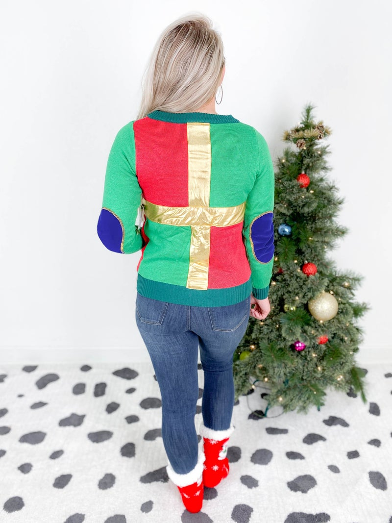 PLUS/REG Women's Gold Bow Wrapping Paper Christmas Sweater