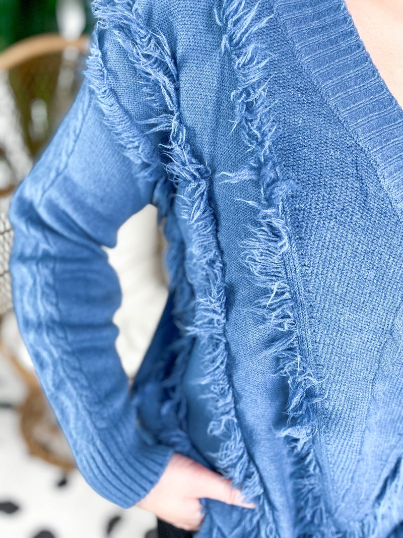 Cobalt Chevron Textured V Neck Sweater