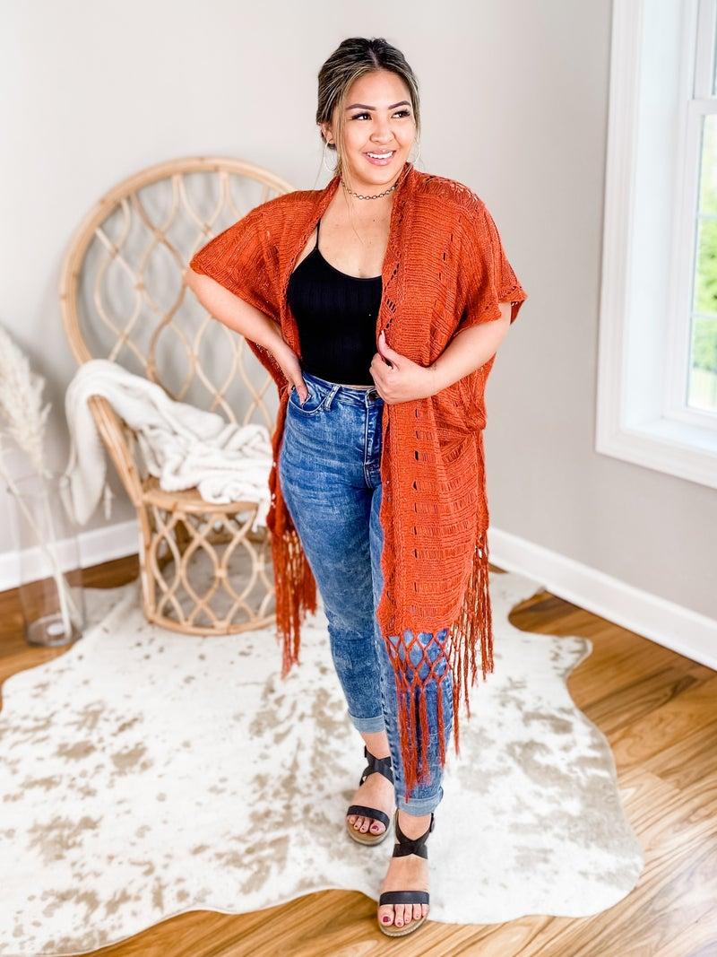 Crochet Knit Sweater With Fringe Detail (Multiple Colors)