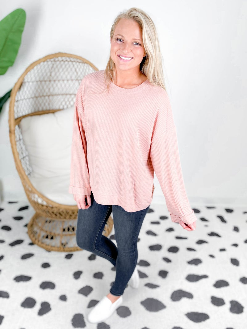 Ribbed Knit Top With Bell Sleeves (Multiple Colors)
