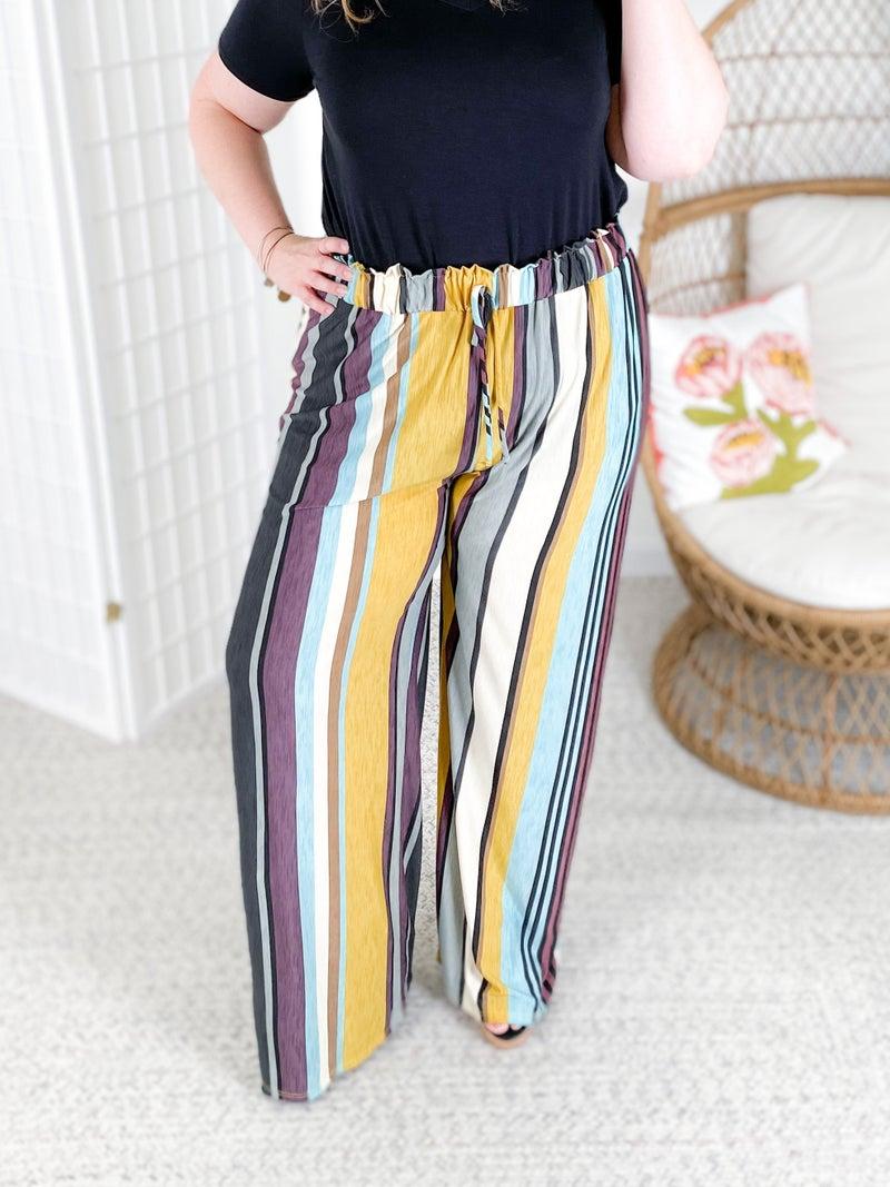 PLUS/REG Honeyme Fall Sunset Striped Pants