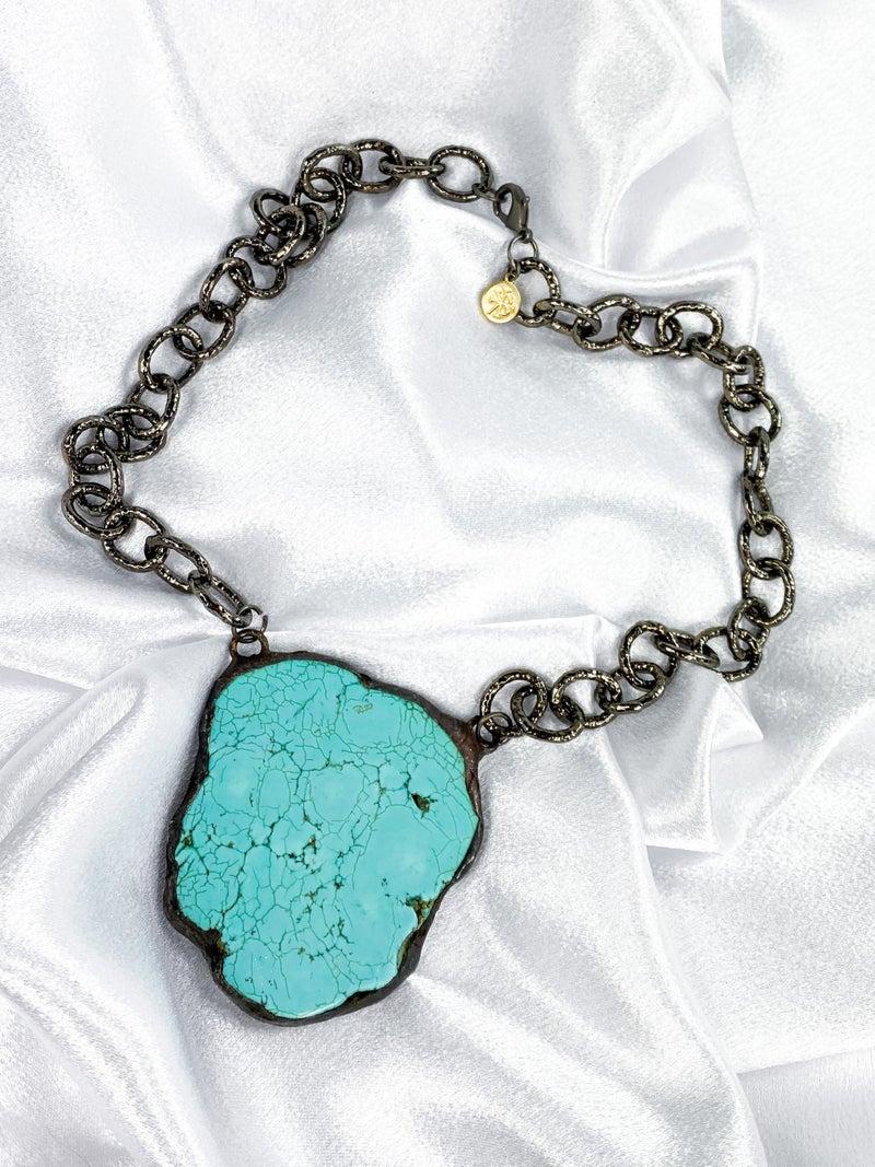 Karli Buxton Soldered Turquoise Slab Necklace