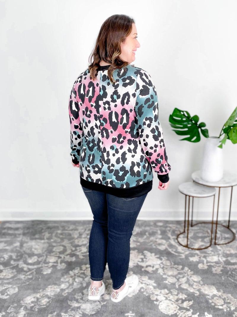 PLUS/REG Magenta Mint Leopard Long Sleeve Top