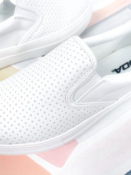 SODA White Slip On Perforated Sneaker