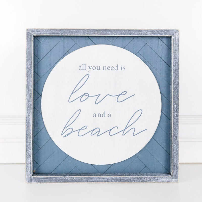 Love and a Beach Sign 12x12