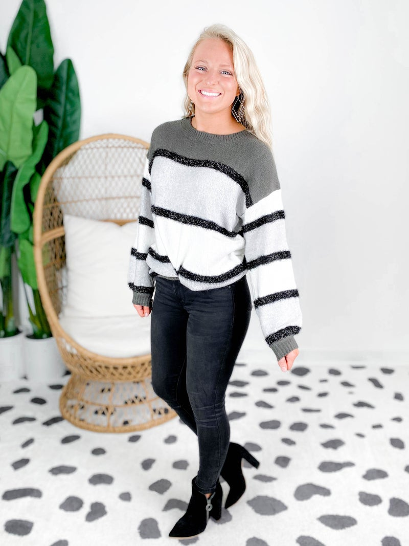 Fuzzy Sparkle Stripe Sweater (Multiple Colors)