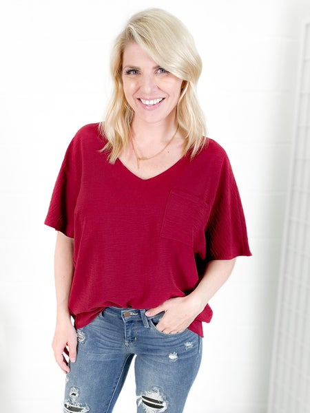 V Neck Flare Sleeve Top (Multiple Colors)