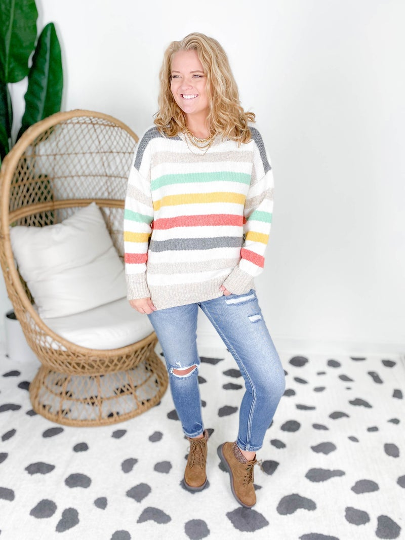 Candy Striped Long Sleeve Sweater