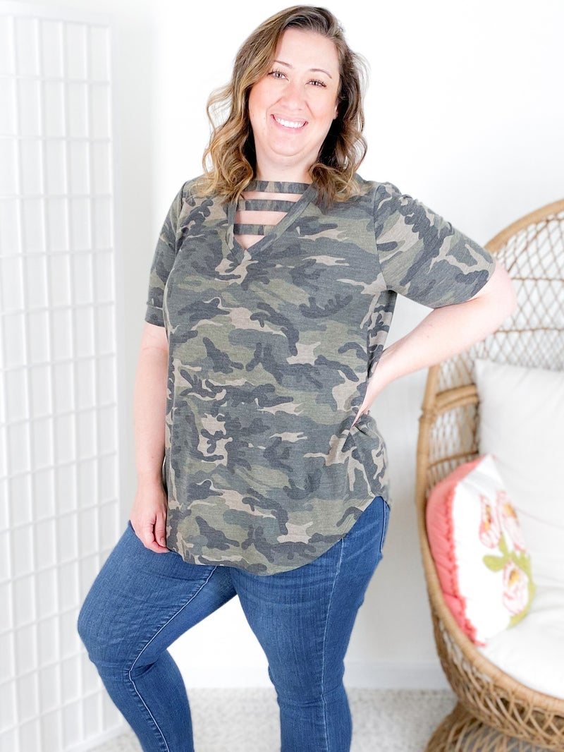 Camo French Terry Top with Strappy Neckline