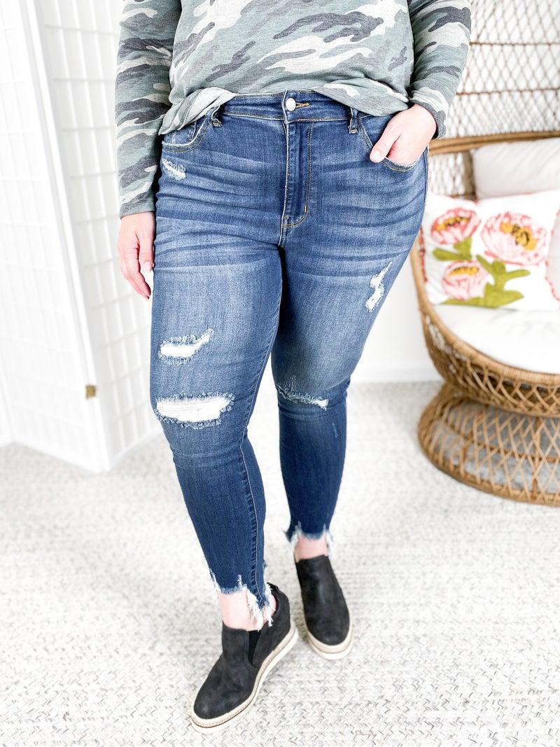 PLUS/REG Judy Blue Shark Attack Distressed Jeans