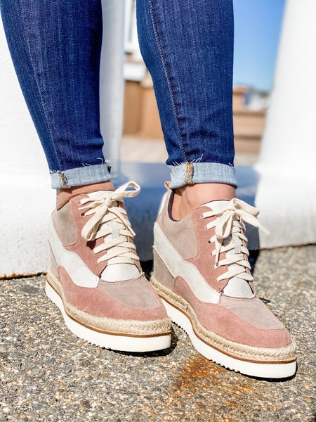 Sporty Wedge Sneaker With Espadrille Trim
