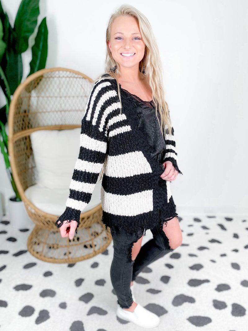 Distressed Stripe Cardigan (Multiple Colors)