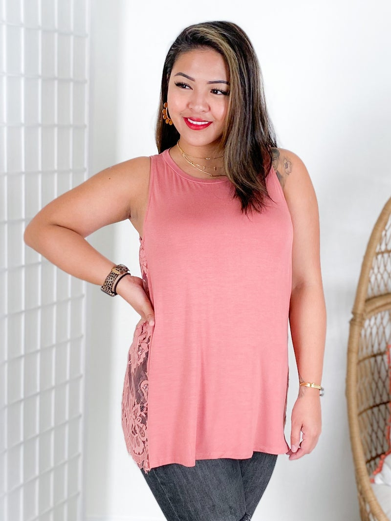Sleeveless Top with Floral Lace Side Detail (Multiple Colors)