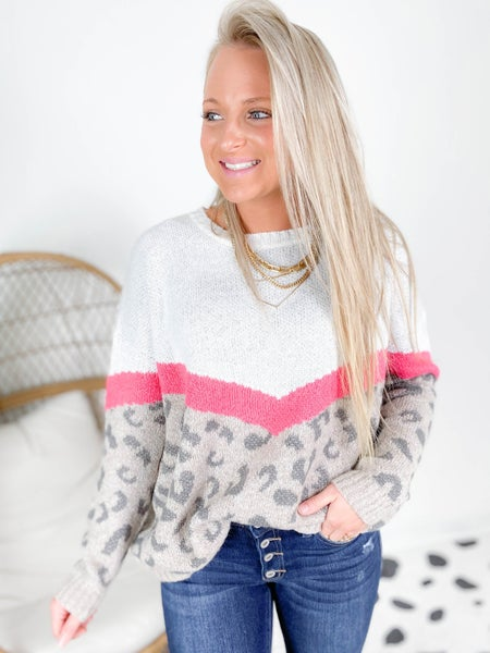PLUS/REG Chevron Stripe Leopard Sweater (Multiple Colors)