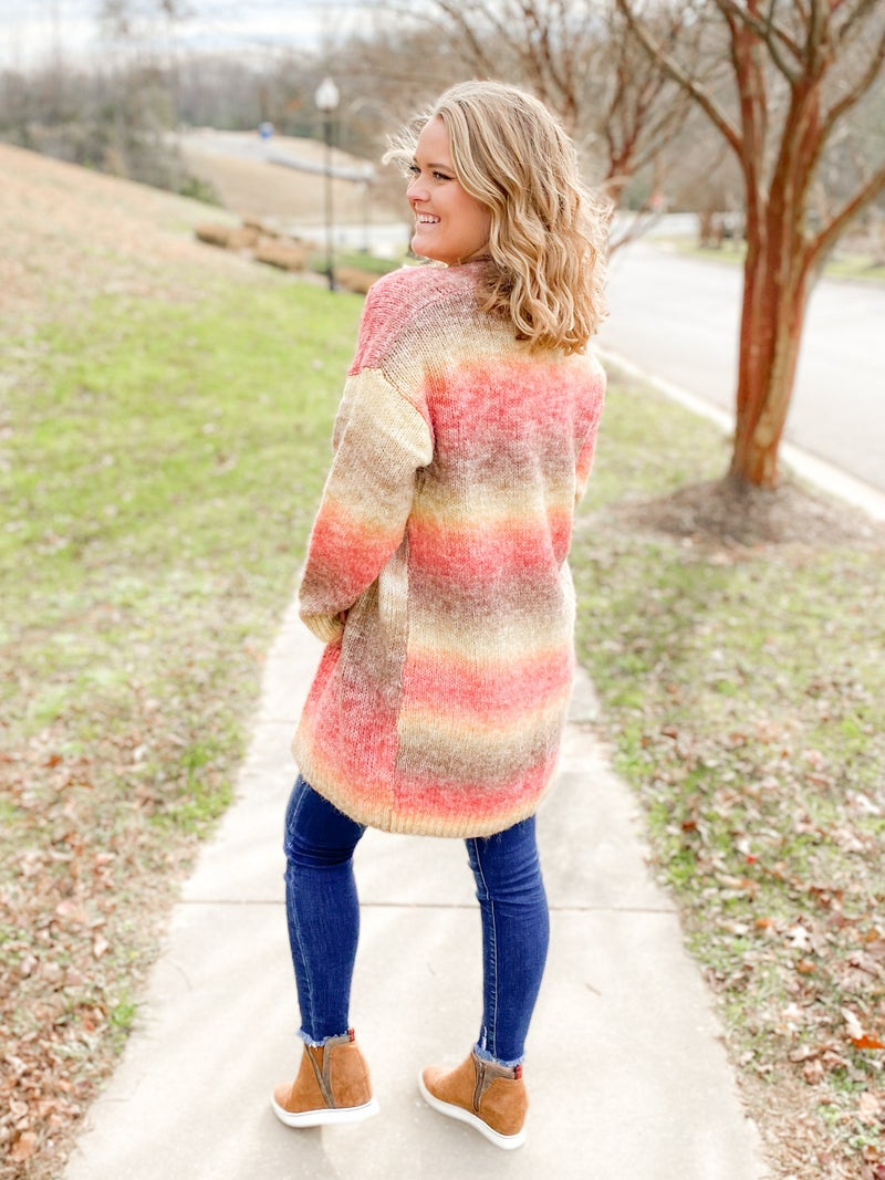 Multi Color Tie Dye Open Front Cardigan Sweater (Multiple Colors)