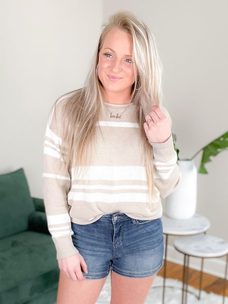 Stripe Pull Over Sweater with Rolled Neck (Multiple Colors)