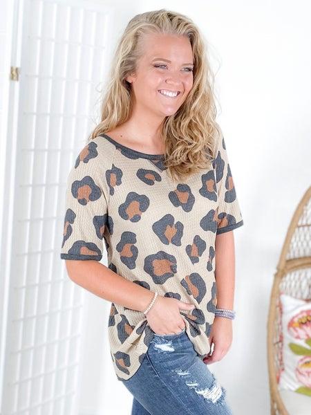 Mocha Leopard Waffle Knit Top with Raglan Sleeves