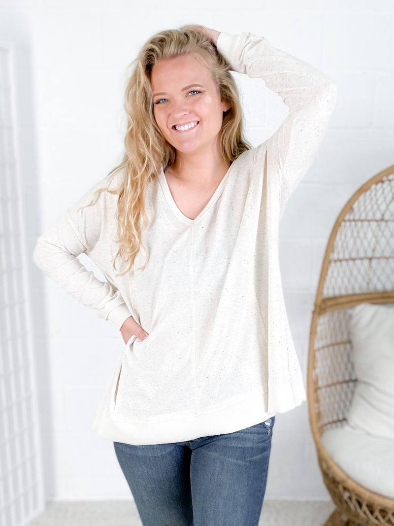 Oatmeal Long Sleeve Top with Drop Shoulders & Reverse Stitching