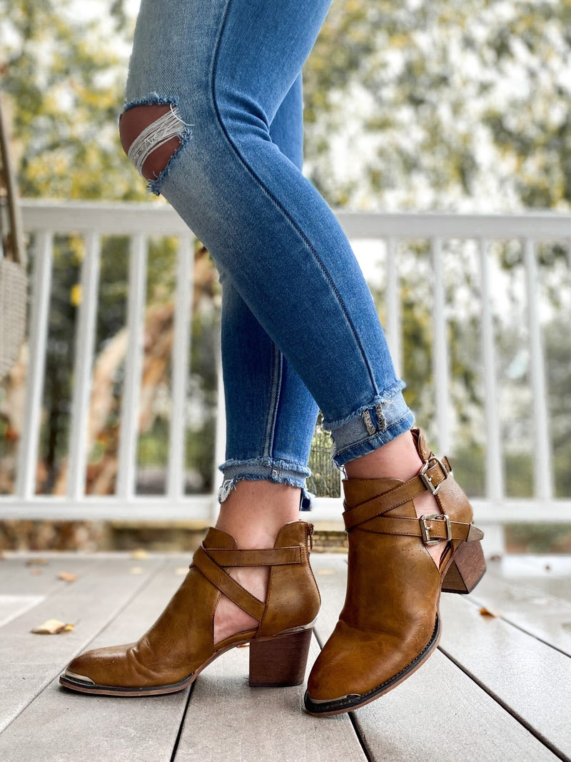 Metal Accent Block Heel Ankle Boot (Multiple Colors)